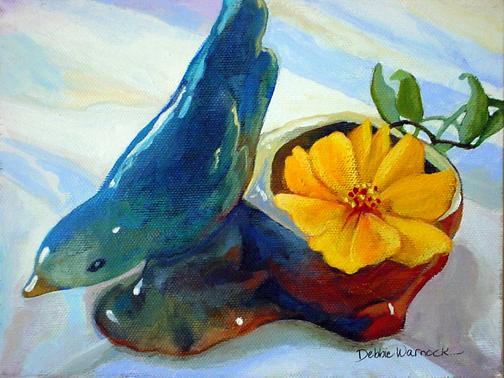 Bluebird vase and cosmos
