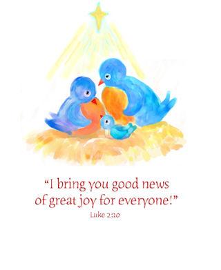Christmas bluebird family