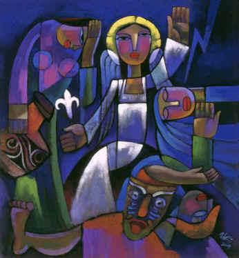 He Qi, Christ on Easter Morning, Bible Art:Resurrection of Christ