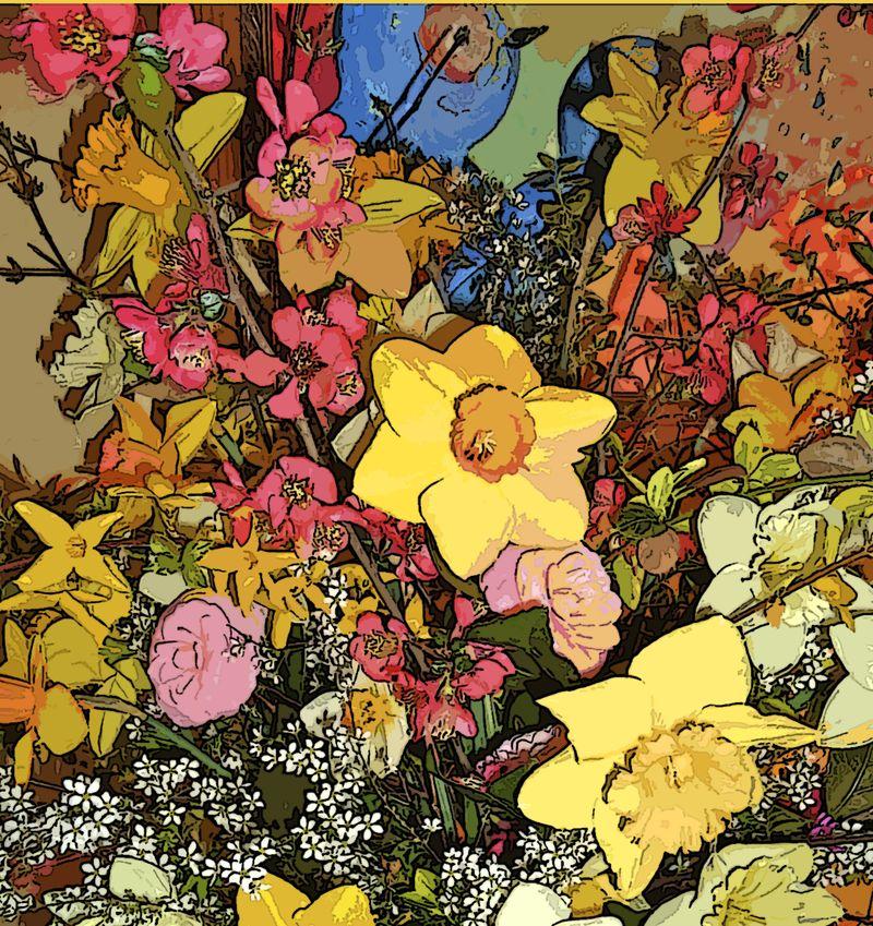 Daffodils with bluebird